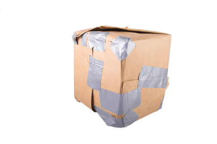 box covered in messy duct tape